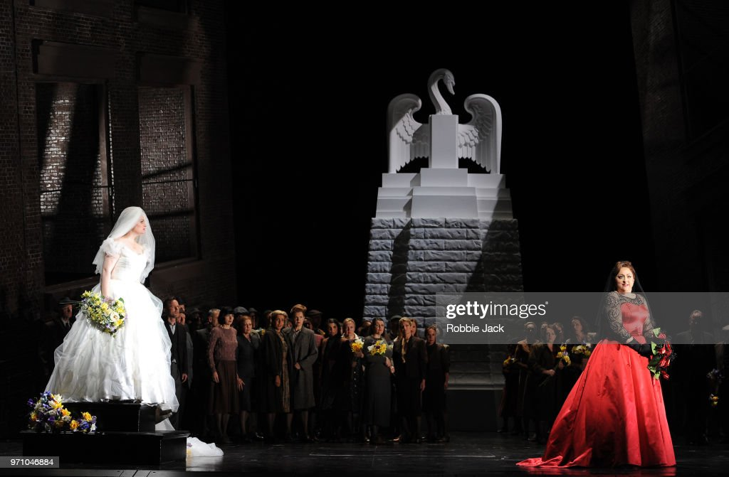 30** Jennifer Davis as Elsa von Brabant and Christine Goerke as Ortrud with artists of the company in Richard Wagner's Lohengrin directed by David Alden and conducted by Andris Nelsons at the Royal Opera House on June 4, 2018 in London, England.