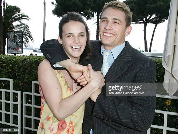 Jennifer Decker and James Franco during 2005 Cannes Film Festival Flyboys Press Conference at Martinez Hotel in Cannes France