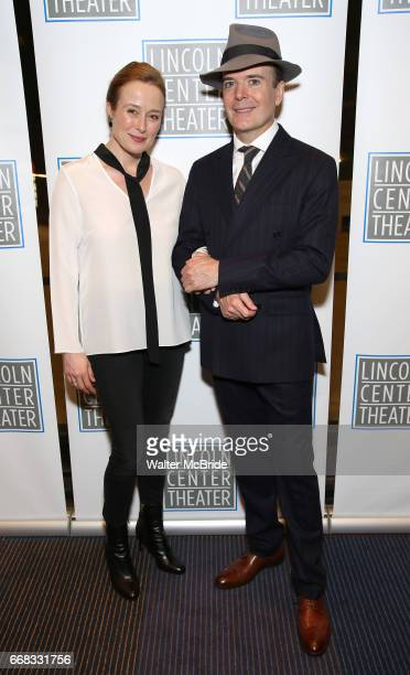 Jennifer Ehle and Jefferson Mays attend the Opening Night Performance press reception for the Lincoln Center Theater production of 'Oslo' at the...