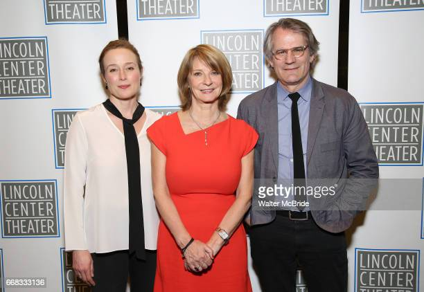 Jennifer Ehle Mona Juul and Bartlett Sher attend the Opening Night Performance press reception for the Lincoln Center Theater production of 'Oslo' at...