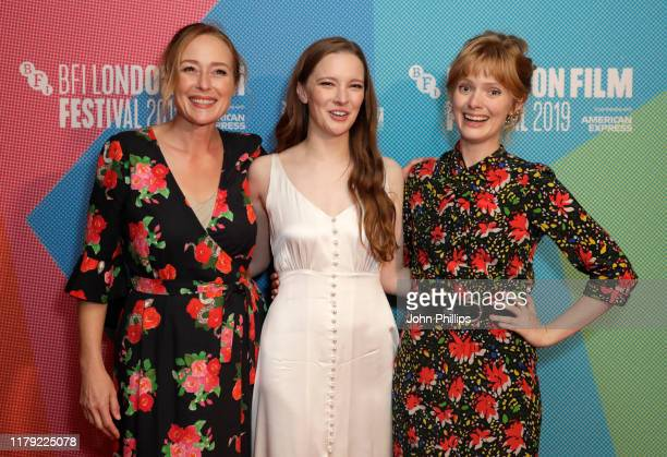 """Jennifer Ehle, Morfydd Clark and director Rose Glass attend the """"Saint Maud"""" European Premiere during the 63rd BFI London Film Festival at Vue West..."""
