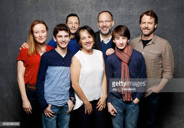 Jennifer Ehle Theo Taplitz Mauricio Zacharias Greg Kinnear Michael Barbieri Paulina Garcia and Ira Sachs from the film 'Little Men' pose for a...
