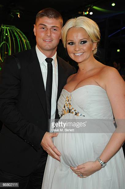 Jennifer Ellison and her partner Rob Tickle arrive at the fourth annual Emeralds And Ivy Ball in aid of Cancer Research UK at Battersea Evolution on...