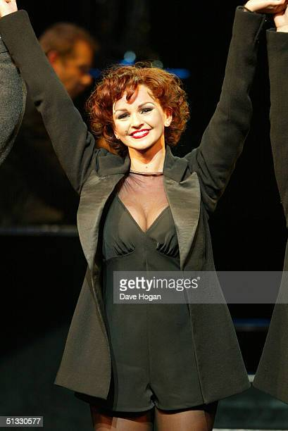 "Jennifer Ellison performs in her new role as Roxie Hart in the West End musical ""Chicago"" at the Adelphi Theatre on September 20, 2004 in London...."