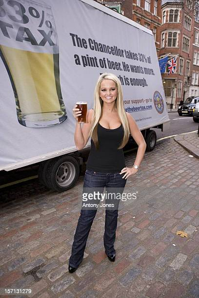 Jennifer Ellison Poses For Cameras To Launch The 'Save The Pub' Photocall For Part Of The Beer Pubs Association'S Campaign Against Recent Increases...
