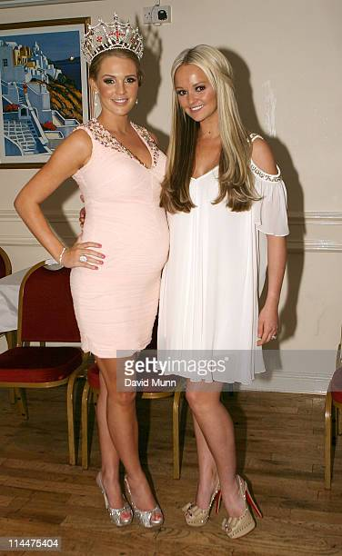 Jennifer Ellison presents a new Miss England crown to Danielle Lloyd after the original she won in 2004 was stolen from her home at Liverpool Olympia...