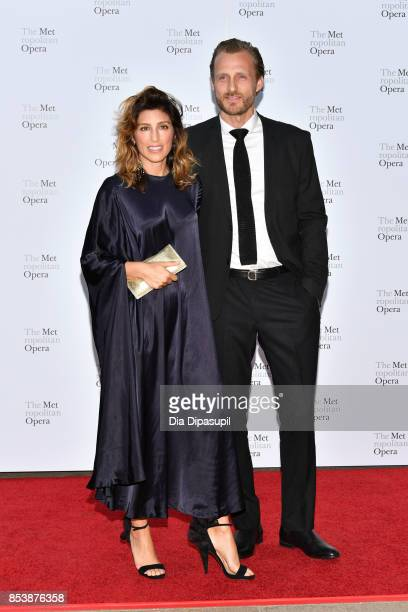 Jennifer Esposito and Jesper Vesterstrom attend the 2017 Metropolitan Opera Opening Night at The Metropolitan Opera House on September 25 2017 in New...