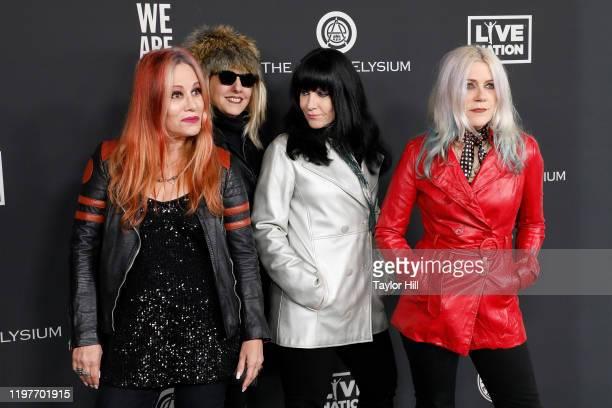 Jennifer Finch Suzi Gardner Demetra Plakas and Donita Sparks of L7 attend The Art of Elysium's 13th Annual Heaven Gala at Hollywood Palladium on...