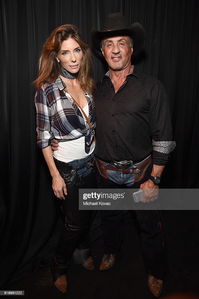 Jennifer Flavin and actor Sylvester Stallone attend the Casamigos Halloween Party at a private residence on October 28, 2016 in Beverly Hills, California.