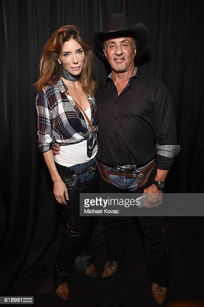 Jennifer Flavin and actor Sylvester Stallone attend the Casamigos Halloween Party at a private residence on October 28 2016 in Beverly Hills...