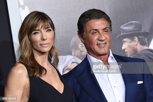 Jennifer Flavin and actor/producer Sylvester Stallone arrive at the premiere of Warner Bros Pictures' 'Creed' at Regency Village Theatre on November...