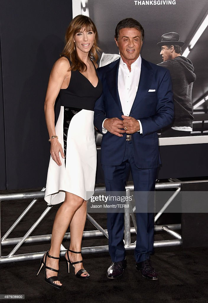 Jennifer Flavin (L) and actor/producer Sylvester Stallone attend Warner Bros. Pictures' 'Creed' Premiere at Regency Village Theatre on November 19, 2015 in Westwood, California.