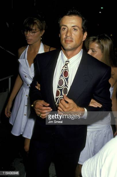 Jennifer Flavin and Sylvester Stallone during Sylvester Stallone and Jennifer Flavin Sighting at Spago's Restaurant in Hollywood July 6 1989 at...