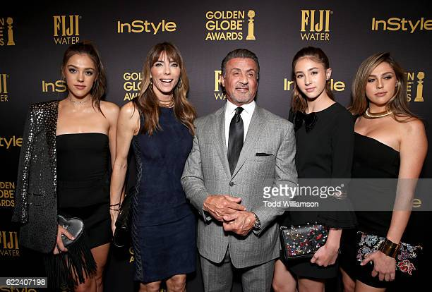 Jennifer Flavin and Sylvester Stallone pose with 2016 Miss Golden Globes Sistine Stallone Scarlet Stallone and Sophia Stallone at the Hollywood...