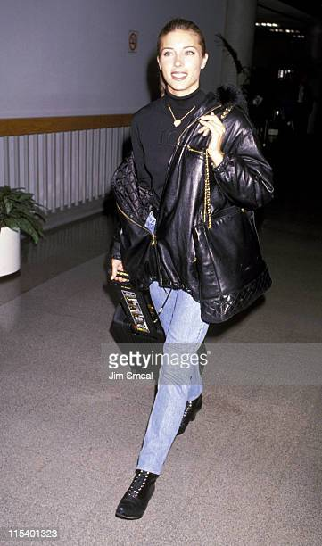 Jennifer Flavin during Jennifer Flavin Departing to New York City January 13 1993 at Los Angeles International Airport in Los Angeles California...