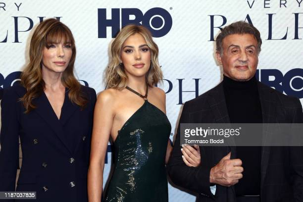 """Jennifer Flavin, Sistine Stallone, and Sylvester Stallone attend the Premiere of HBO Documentary Film """"Very Ralph"""" at The Paley Center for Media on..."""