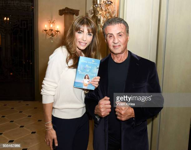 Jennifer Flavin Stallone and Sylvester Stallone attend 'Box of Butterflies' Book Party on March 20 2018 in Beverly Hills California