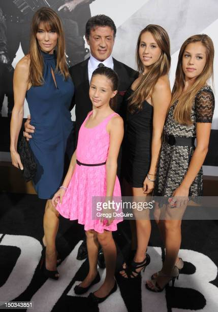 Jennifer Flavin Sylvester Stallone and daughters Scarlet Sophia and Sistine arrive at Los Angeles premiere of 'The Expendables 2' at Grauman's...
