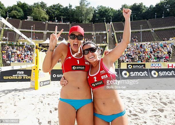 Jennifer Fopma and Brooke Sweat of USA celebrate after winning the third place match between USA and Czech Republic on day six of the Berlin Smart...