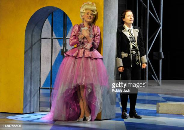 Jennifer France as Princess Elsbeth and Hanna Hipp as Fantasio in Garsington Opera's production of Jacques Offenbach's Fantasio directed by Martin...
