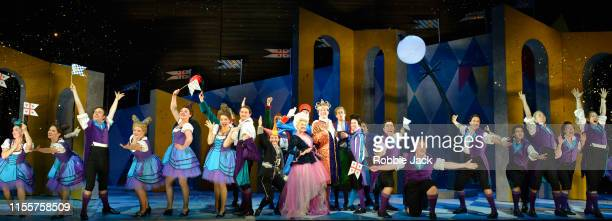 Jennifer France as Princess Elsbeth and Hanna Hipp as Fantasio with artists of the company in Garsington Opera's production of Jacques Offenbach's...