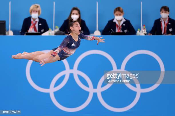 Jennifer Gadirova of Team Great Britain competes in the floor exercise during the Women's All-Around Final on day six of the Tokyo 2020 Olympic Games...