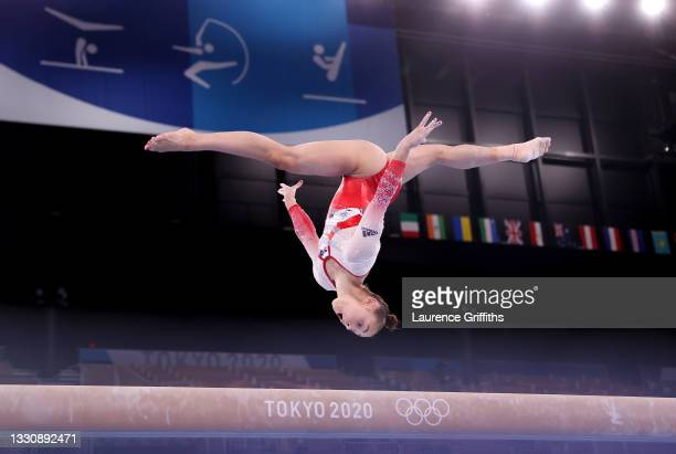 Jennifer Gadirova of Team Great Britain competes on balance beam during the Women's Team Final on day four of the Tokyo 2020 Olympic Games at Ariake...