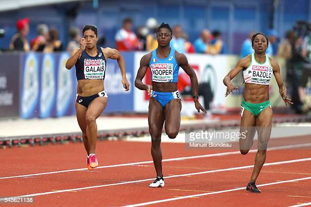Jennifer Galais of France in action during the semi final of the women 100m during the European Athletics Championships at Olympic Stadium on July 8...
