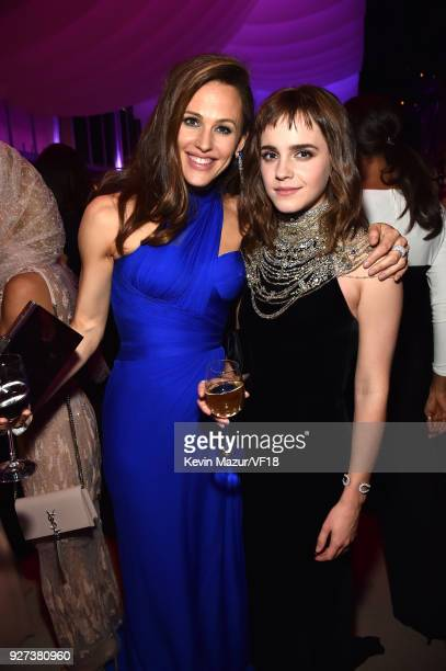 Jennifer Garner and Emma Watson attend the 2018 Vanity Fair Oscar Party hosted by Radhika Jones at Wallis Annenberg Center for the Performing Arts on...