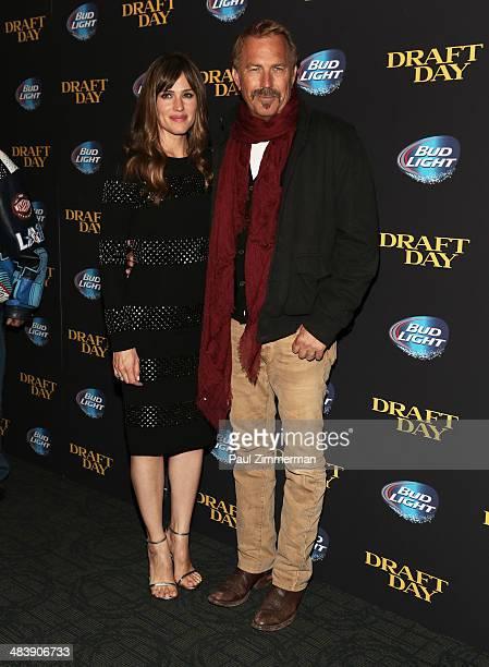 Jennifer Garner and Kevin Costner attend the 'Draft Day'' screening at Landmark's Sunshine Cinema on April 10 2014 in New York City