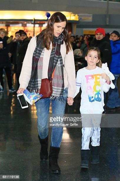 Jennifer Garner and Seraphina Affleck are seen at JFK on January 06 2017 in New York City