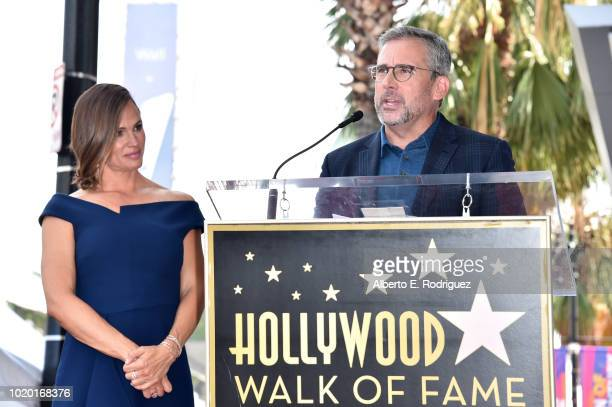 Jennifer Garner and Steve Carell speak during the ceremony honoring Jennifer Garner with a star on the Hollywood Walk Of Fame on August 20 2018 in...