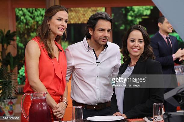 Jennifer Garner Eugenio Derbez and Patricia Riggen are seen on the set of 'Despierta America' to promote the film 'Miracles From Heaven' at Univision...