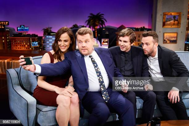 Jennifer Garner Freddie Highmore and Eddie Kaye Thomas chat with James Corden during 'The Late Late Show with James Corden' Thursday March 22 2018 On...