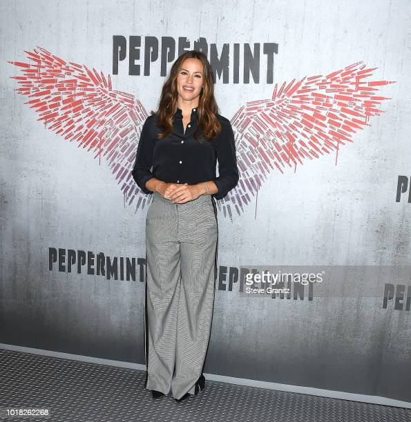 Jennifer Garner poses at the Photo Call For STX Films' Peppermint at Four Seasons Hotel Los Angeles at Beverly Hills on August 17 2018 in Los Angeles...