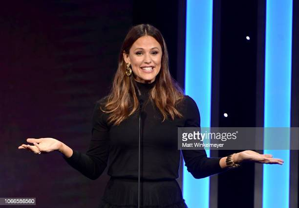 Jennifer Garner speaks onstage during the 32nd American Cinematheque Award Presentation honoring Bradley Cooper at The Beverly Hilton Hotel on...