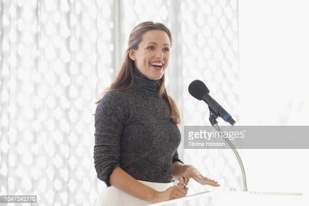Jennifer Garner speaks onstage during The Rape Foundation's Annual Brunch on October 7 2018 in Beverly Hills California