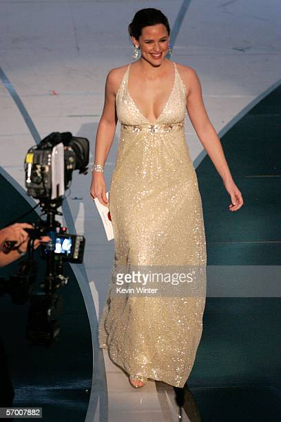 Jennifer Garner walks onstage to present the Oscar for Achievement in Sound Editing during the 78th Annual Academy Awards at the Kodak Theatre on...