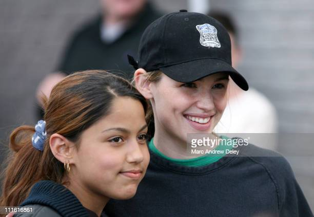 Jennifer Garner with student during Ben Affleck and Jennifer Garner on Location for ''Gone Baby Gone'' in Boston Mass May 24 2006 at on location in...