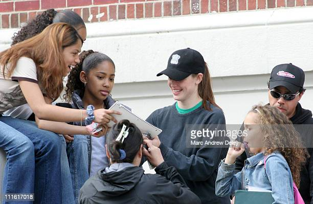 Jennifer Garner with students during Ben Affleck and Jennifer Garner on Location for ''Gone Baby Gone'' in Boston Mass May 24 2006 at on location in...