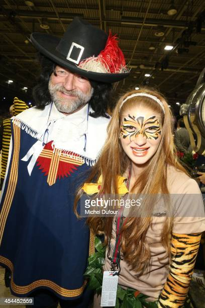 Jennifer Gates and a musketeer attend the Gucci Paris Masters 2013 Day 3 at Paris Nord Villepinte on December 7 2013 in Paris France
