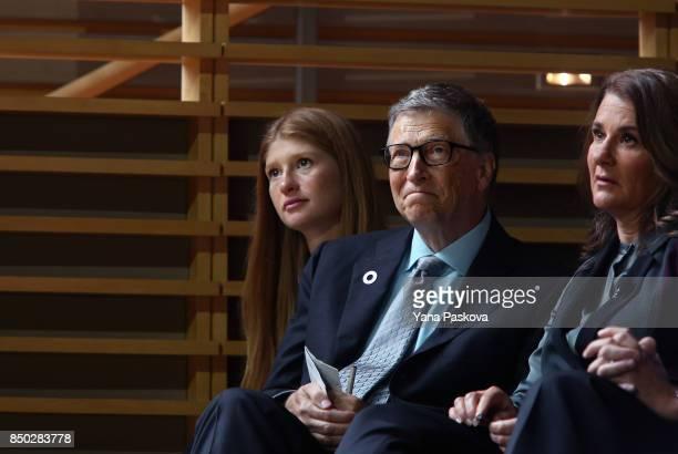 Jennifer Gates and her parents Bill and Melinda Gates listen to former US President Barack Obama speak at the Gates Foundation Inaugural Goalkeepers...