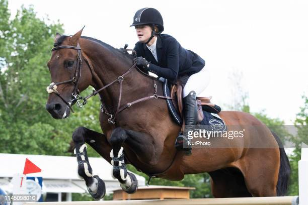 Jennifer Gates competes during MadridLongines Champions the International Global Champions Tour at Club de Campo Villa de Madrid on May 19 2019 in...