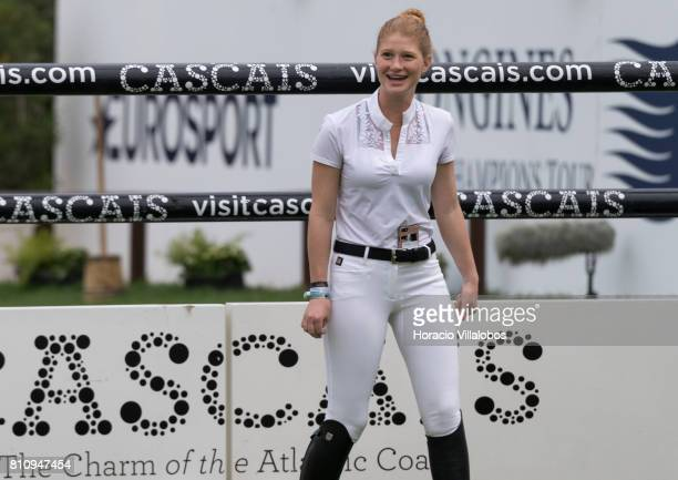 Jennifer Gates of USA walks the grounds before participating in the CSI5 Global Champions League of Cascais Final against the clock team and...