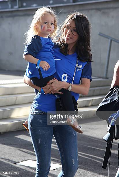 Jennifer Giroud and daughter Jade Giroud attend the UEFA Euro 2016 final match between Portugal and France at Stade de France on July 10, 2016 in...