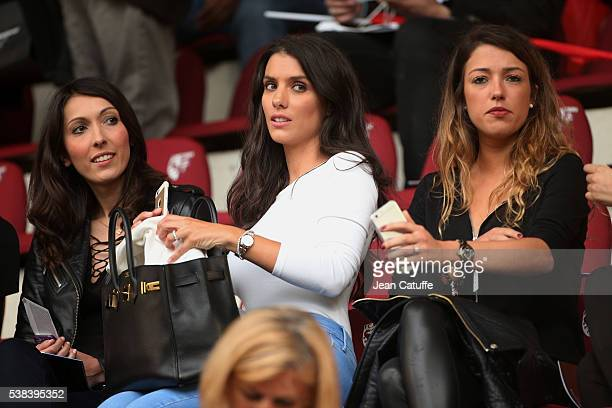 Jennifer Giroud wife of Olivier Giroud Ludivine Sagna wife of Bacary Sagna and Camille Sold girlriend of Morgan Schneiderlin of France attend the...