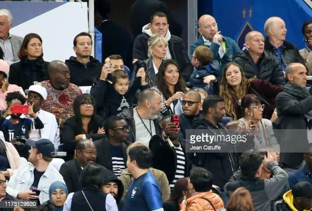 Jennifer Giroud wife of Olivier Giroud of France and their son Evan Giroud celebrate Giroud's goal during the UEFA Euro 2020 qualifier match between...