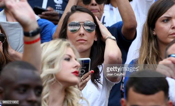 Jennifer Giroud wife of Olivier Giroud of France during the 2018 FIFA World Cup Russia group C match between Denmark and France at Luzhniki Stadium...