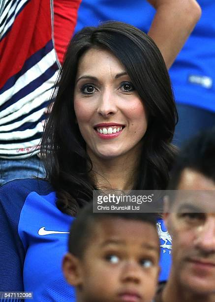 Jennifer Giroud wife of Olivier Giroud of France looks on prior to the UEFA Euro 2016 Semi Final match between Germany and France at Stade Velodrome...