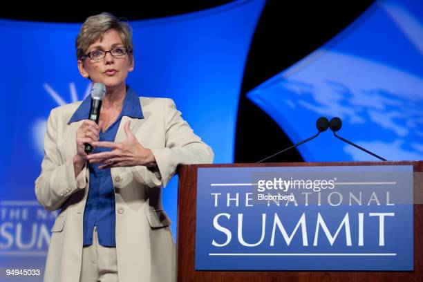 Jennifer Granholm governor of Michigan speaks at a session during the National Summit in Detroit Michigan US on Tuesday June 16 2009 The summit...